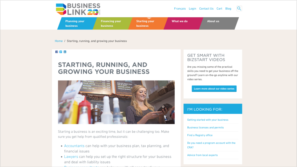 Business Link landing page